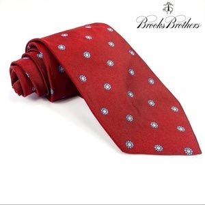 Brooks Brothers Red Blue Floweral Dotted Silk Tie
